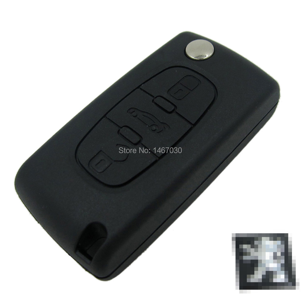 Replacement Remote Key Case Shell peugeot 407 407 307 308 607 key cover 3 buttons flip key case With car Symbol Free shipping(China (Mainland))