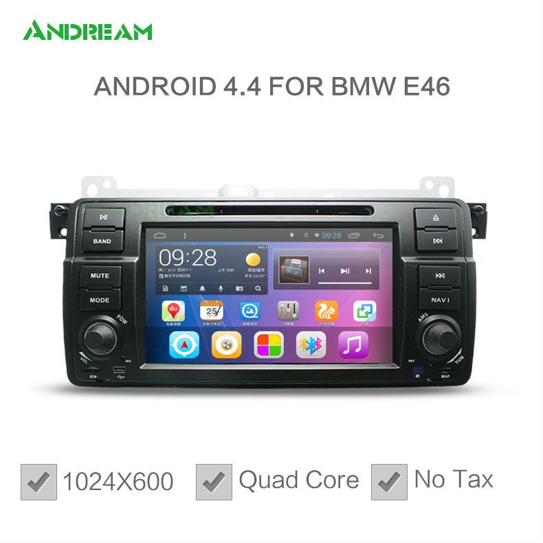 1024*600 Quad Core Car DVD Player Stereo Android 4.4 For bmw e46 Free EU shipping NO TAX Bluetooth gps navigation EW801PQH(China (Mainland))