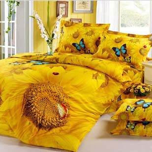Fast shipping!Luxury 100% cotton 40's High density Twill 4pcs Bedding set 3D oil printed Gold Sunflowers Duvet cover set/B2013(China (Mainland))