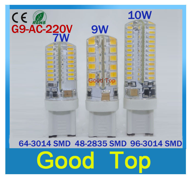 led G9 lamp AC 220V 110v 3014 7W 6W 9W 10w 2835 3014 LED Crystal Silicone Candle Replace 20W-50W halogen lamps lighting bulb(China (Mainland))