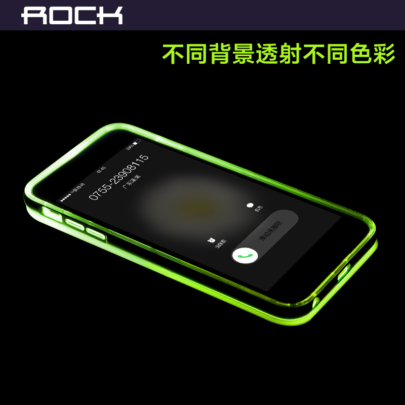 1pcs ROCK original brand For apple iphone 6 plus 5.5 inch TPU +PC Mobile Phone case cover LED flash back Case Cover + retail box(China (Mainland))