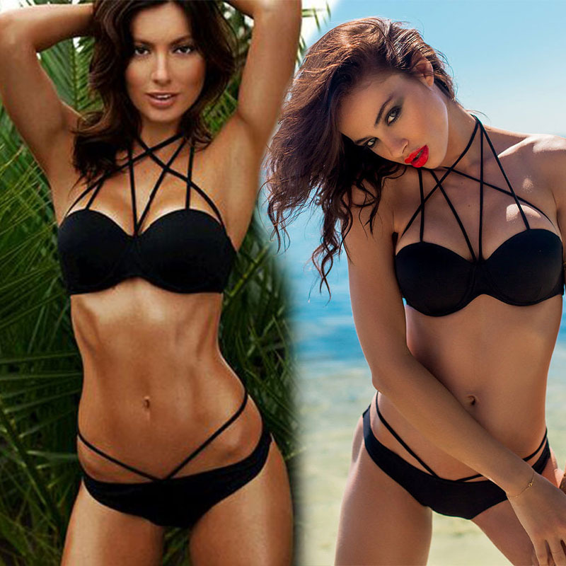 hot sale 2015 new black Sexy bikini set strappy bikini  swimsuit swimwear women bathing suit bather biquini maillot de bain(China (Mainland))