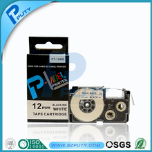 Compatible for EZ-label printer 12mm black on white  XR-12WE label tape PT-12WE label tape