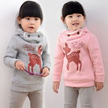 New plus velvet winter children sweater cartoon deer baby girls hoody thicken kids clothes fashion hoodies sudaderas sweatshirt(China (Mainland))