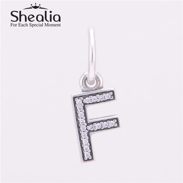 Подлинная стерлингового серебра 925 буква F мотаться подвески подвеска с четкими CZ для женщин подходит известный бренд DIY браслеты LE13F
