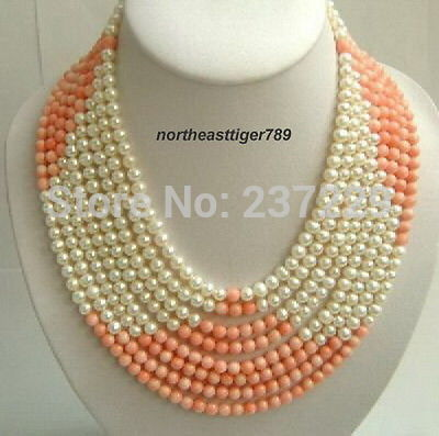 Wholesale XSZ2014 ^^8 Rows Real Pink Coral White Pearl 18KWGP Clasp Necklace(China (Mainland))