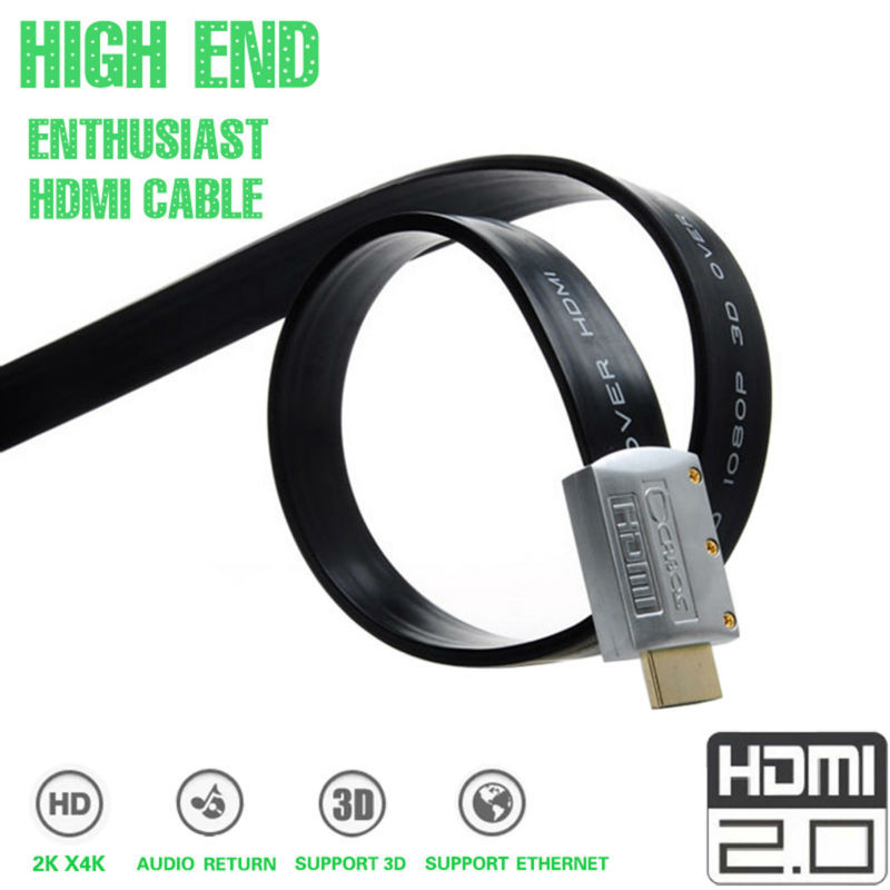 Hdmi Cable 3D 4K Gold Plated Black Flat 18Gbps Full HD 1080P Ethernet HDMI 2.0 Cables 1m/3.3Ft(China (Mainland))