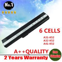Wholesale laptop battery for Asus A52 A52J K42 K42F K52F K52J 70-NXM1B2200Z A31-K52 A32-K52 A41-K52 A42-K52 6cells free shipping