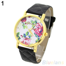 Mujeres de ginebra Rose flor Checker Faux Leather Band cuarzo analógico reloj de pulsera 4KM5