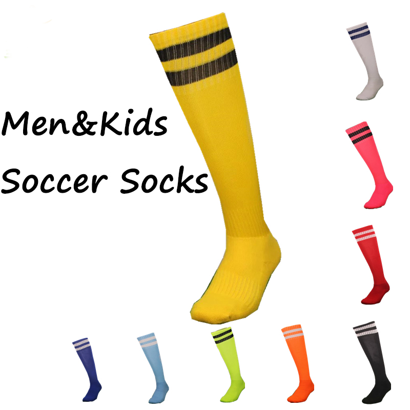 Men & Kids Sport Football Soccer Socks 2 Stripes Above Knee Socks Long Thick Bottom Soccer Stockings For Children Medias Futbol(China (Mainland))