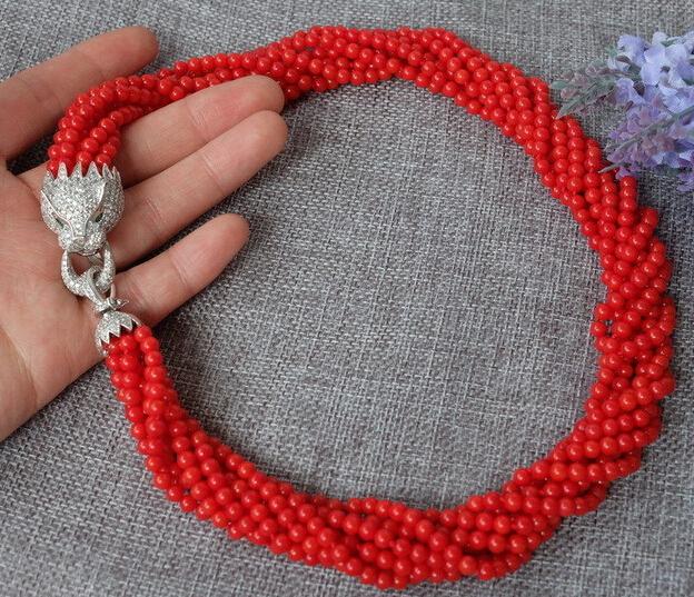 bjc 0002787 8strds Red Coral Round necklace-zircon clasp<br><br>Aliexpress