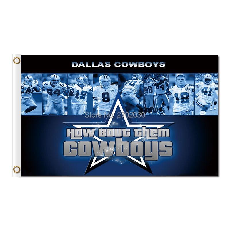 How Bout Then Cowboys Flag Dallas Cowboys Flag 3ft X 5ft World Series 2016 Jersey Football Team Dallas Cowboys Banner(China (Mainland))