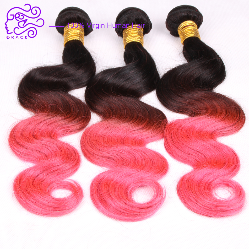 new hot grace 6a grade ombre pink brazilian human hair extensions 3 bundles deal two tone 1b pink ombre body wave hair weave(China (Mainland))