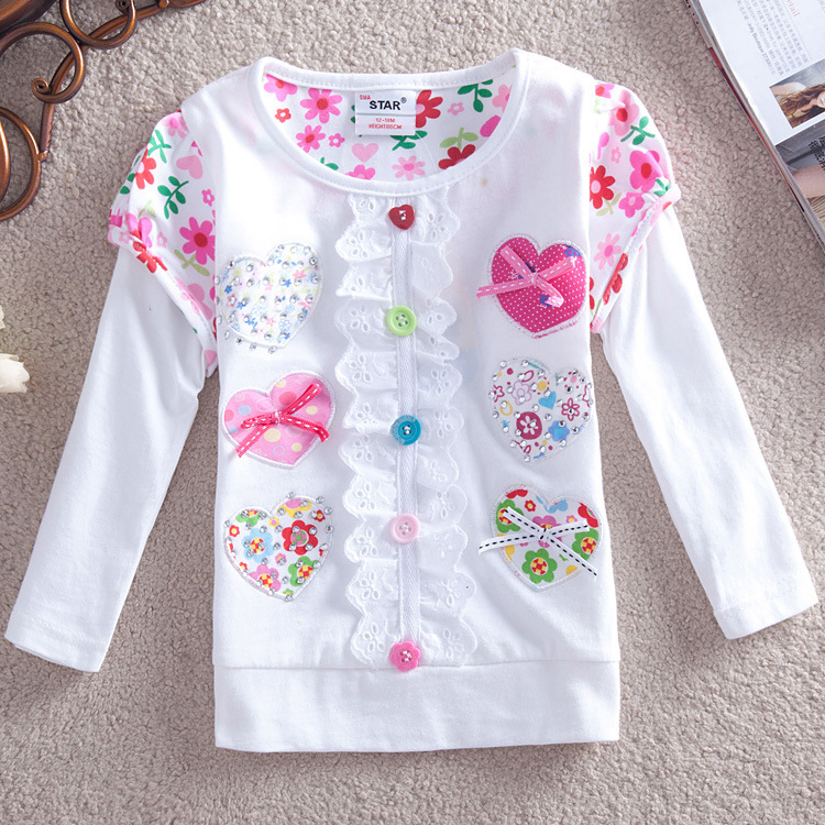 Wholesale 2015 Brand Kids Autumn Fashion Long Sleeves Embroidery Heart Pink White Girls Long Sleeve Shirts Designer Kids Wear(China (Mainland))