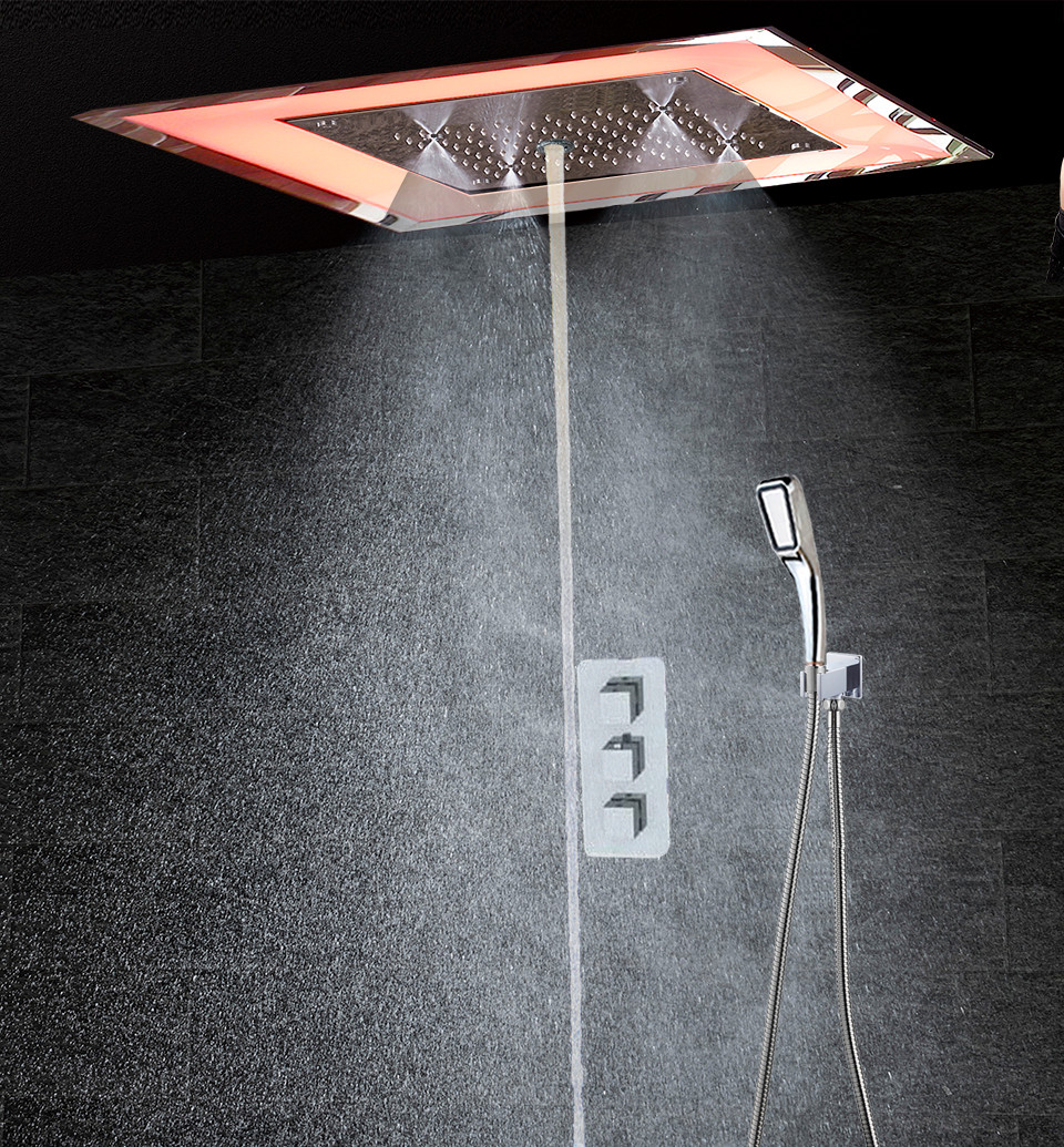 Luxury LED Thermostatic Bathroom Shower mixer Wall Mounted Bath Shower Faucet Ceiling Rainfall SPA Mist Bubble Shower Concealed