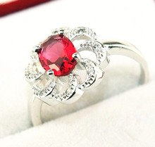 60 off Flower Red Created Diamond Ring for Women 925 Sterling Silver Crystal Jewerly Ruby Engagement