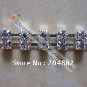 Free Shipping 10 meters/lot, 2-row SS16 rhinestone chain with Czech crystals in sliver or gold setting