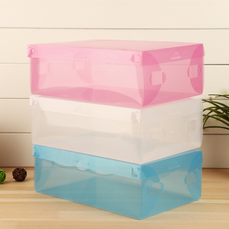 Special Offer thick Transparent Colored Plastic Clamshell ShoeBox drawer storage box boots Organizer Container Finishing Box DIY(China (Mainland))