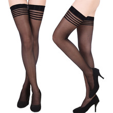 Buy 2017 Women's Long Knee Stocking Striped Lace Sexy Stockings Fishnet Mesh Stockings Thigh Knee High Sexy Lingerie Cheap for $1.49 in AliExpress store