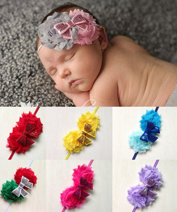 Two pc Shabby Chic Chiffon Big Flower Glitter Shinny Bow Center Baby Hair Accessory Toddler Infant Photo Props Head Wraps(China (Mainland))
