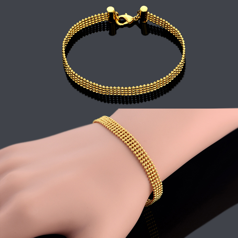 Ball Bead Chain Link Bracelet Femme Male , Punk 18K Gold Plated Cheap Bangle Bracelets, Gold Mens Chains, New Hand Chain Jewelry(China (Mainland))