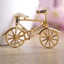 Blucome Freddo Bike Spille Per Le Donne Ragazze Oro-colore Piccolo Modello di Bicicletta Spilla Spilli Sciarpa Fibbia Uomo Vestito di Abbigliamento accessorio(China)