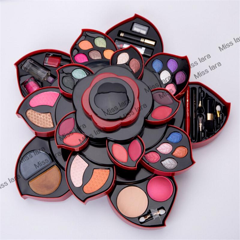 Miss rose rotary flower makeup palette 20 colors 3D waterproof eye shadow+ 1 face powder women beauty make up naked eyeshadow <br>