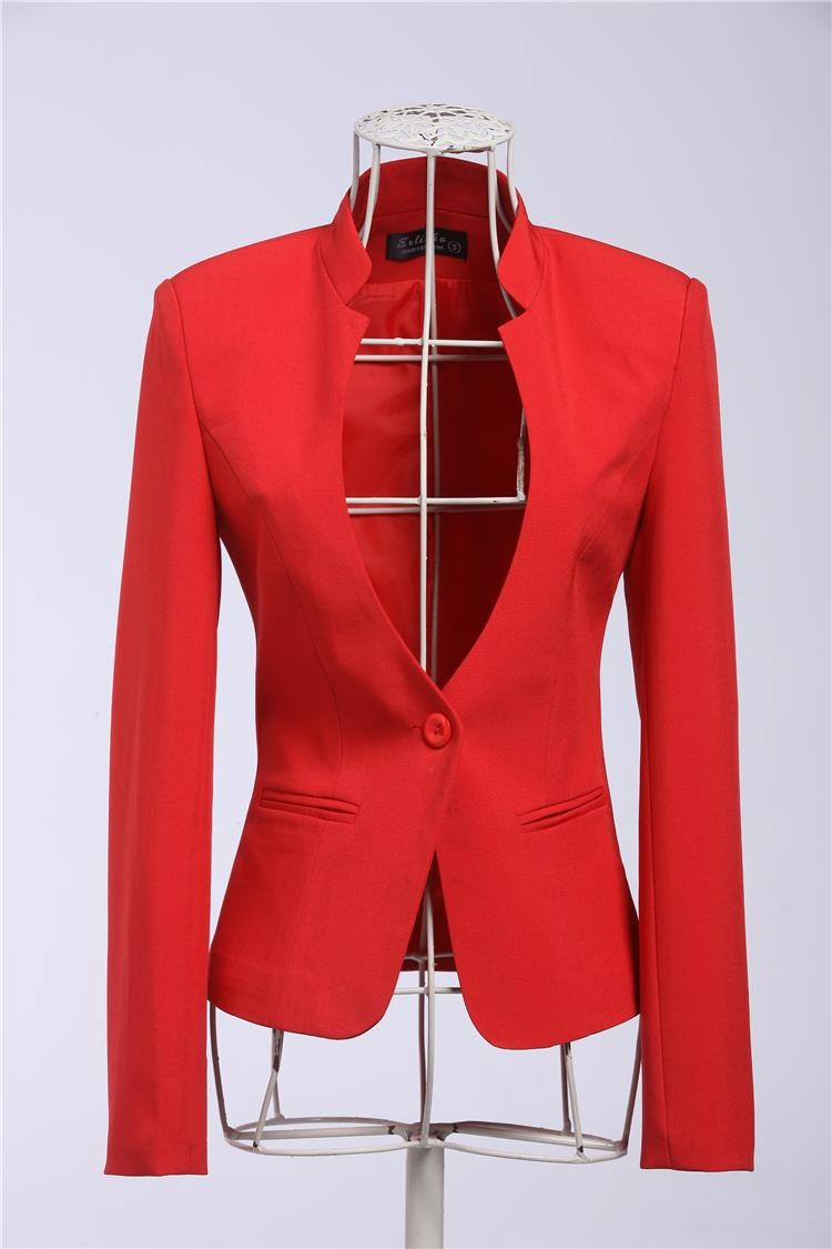 New 2015 Spring Autumn Formal Female Red Blazer Women Blazers U0026 Jackets Work Wear OL Office ...