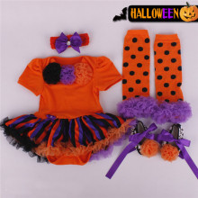 Retail 2015 halloween costume baby girl dress 4pcs set newborns kids clothes sets rompers dress band