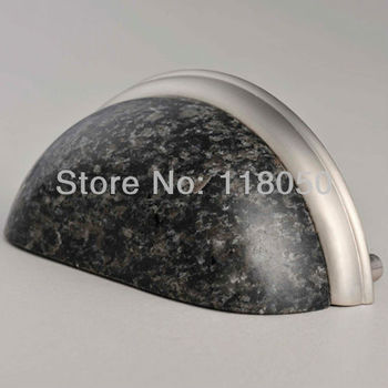 3 inch Nero Impala Granite Cup Pull Handle,Decorative Kitchen Cupboard Pulls Wardrobe Closet Handles,Stone Furniture Hardware