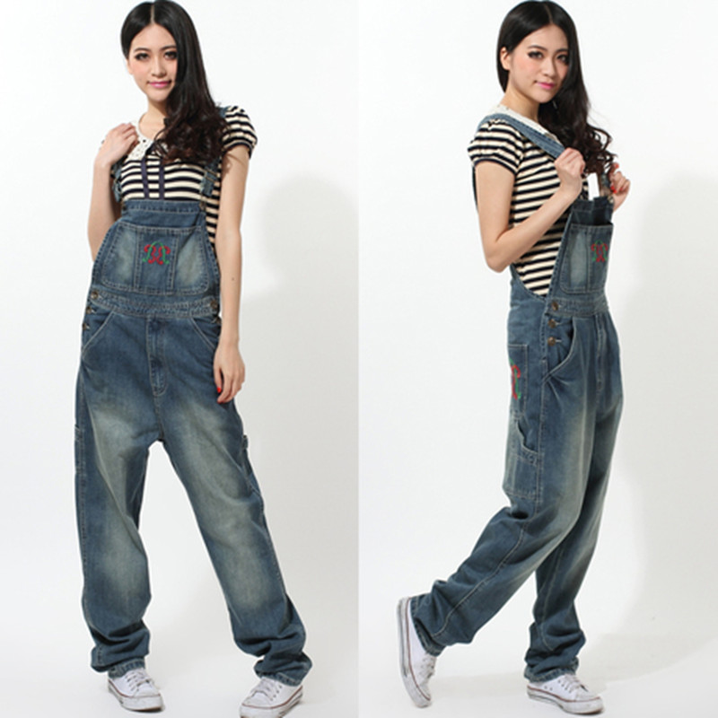 2015 loose casual denim bib pants oversized spaghetti strap spring jumpsuitОдежда и ак�е��уары<br><br><br>Aliexpress