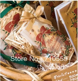cake bag Christmas packaging golden Christmas wreath no self-styled gingerbread biscuits bag 12 * 18 cm