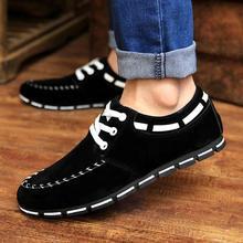 Hot Men's black leather casual shoes lace fashion