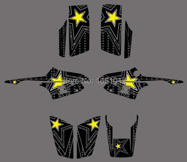 0332 Black Star New Style 3M ROCKSTAR DECALS STICKERS Graphics Kits for YAMAHA Warrior 350 ATV(China (Mainland))