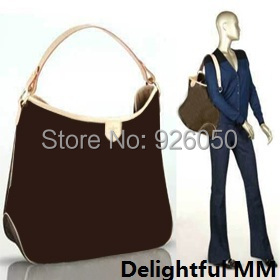 Top 1:1 mirror quality Delightful monogram MM M40353 shoulder bag real oxidizing cow leather trim women hobo bag(China (Mainland))