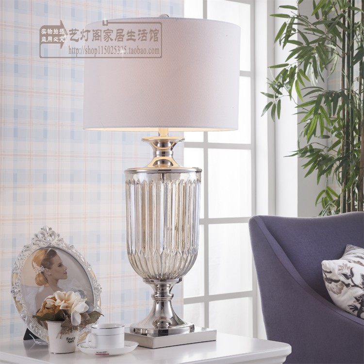 modern american silver metal trophy home living room table lamp queen