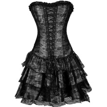 2016 Popular Design Sexy Europe Court three Pieces Corset Dress Gothic Lace Steampunk Bustier Plus Size