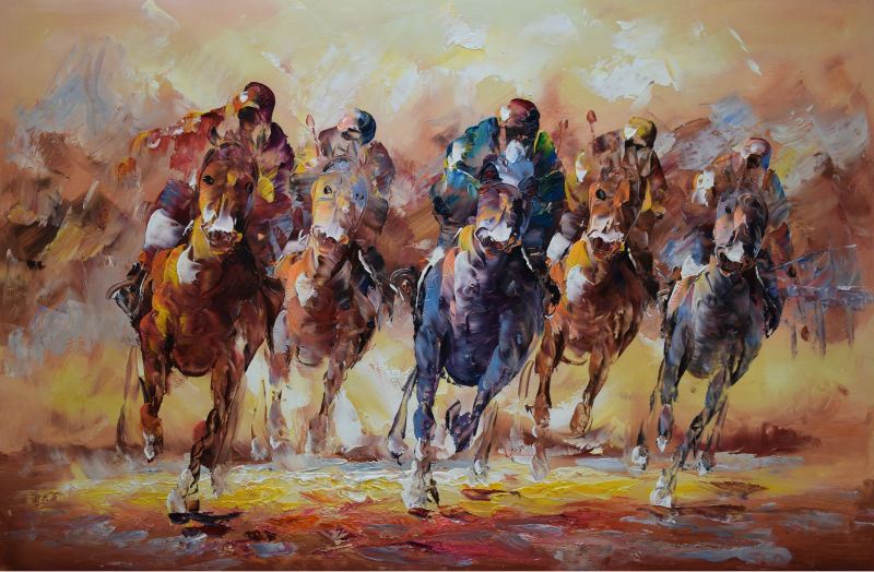 Buy Hand Painted Thick Textured Palette Knife Abstract Horse Racing Oil Painting on Canvas  Wall Painting Picture for Living  Room cheap
