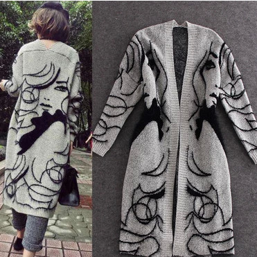 Winter Fashion Fall Winter Rabbit Hair Blend Knitted Cardigans Girl Printed Elegant Jumper Sweater Thicken Long Knitwear Coat(China (Mainland))