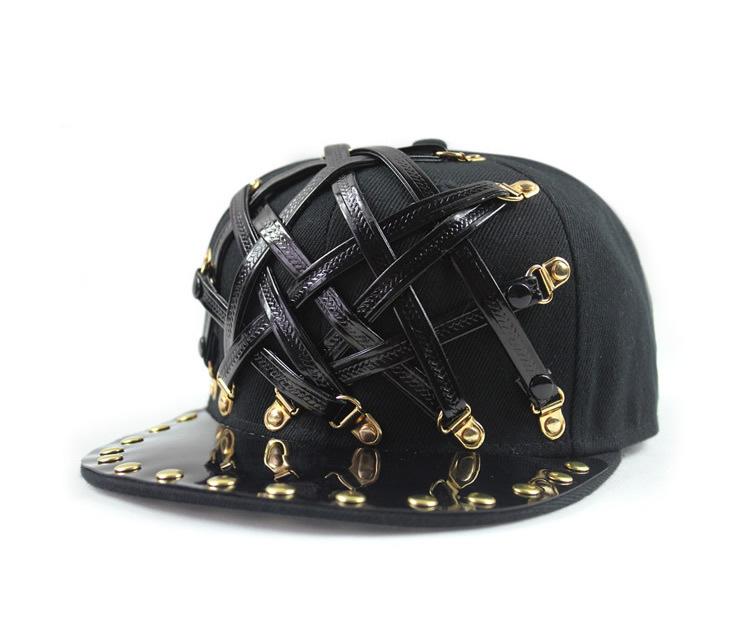 2015 fashion gold black leather flat brim gold rivets hiphop snapback cap hat buckle adjustable nightclub dancer baseball cap(China (Mainland))