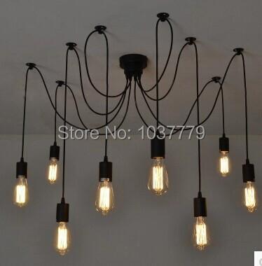 8-arm Mordern Nordic Retro Edison Bulb Pendant chandelier Vintage Loft Antique Adjustable E27 Art Spider Ceiling Lamp Fixture<br><br>Aliexpress