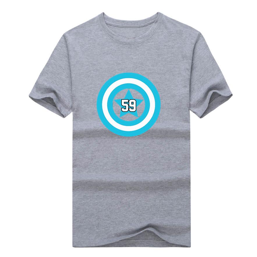 2017 Men Carolina #59 Luke Kuechly T-shirt Tees Short Sleeve T SHIRT Men's Fashion Panthers Captain W1202018(China (Mainland))