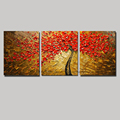 Modern 3 panel flower acrylic oil knife painting floral hand painted oil painting red tree on