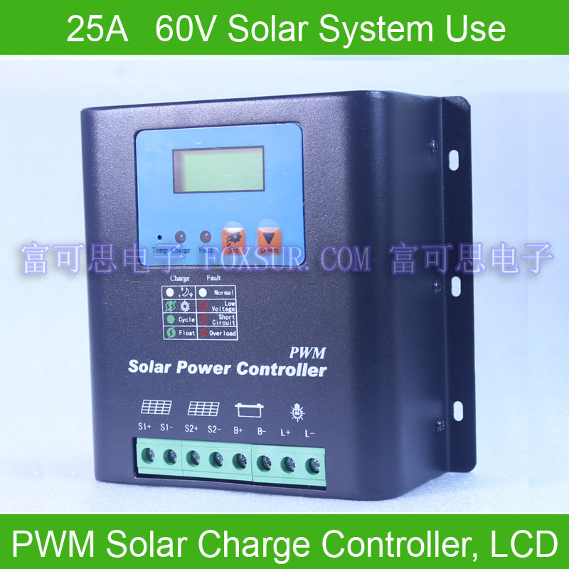 25A 60V PWM Solar Charge Controller, LCD display battery voltage capacity, Hi-Quality - Foxsur Electronics co., Ltd store