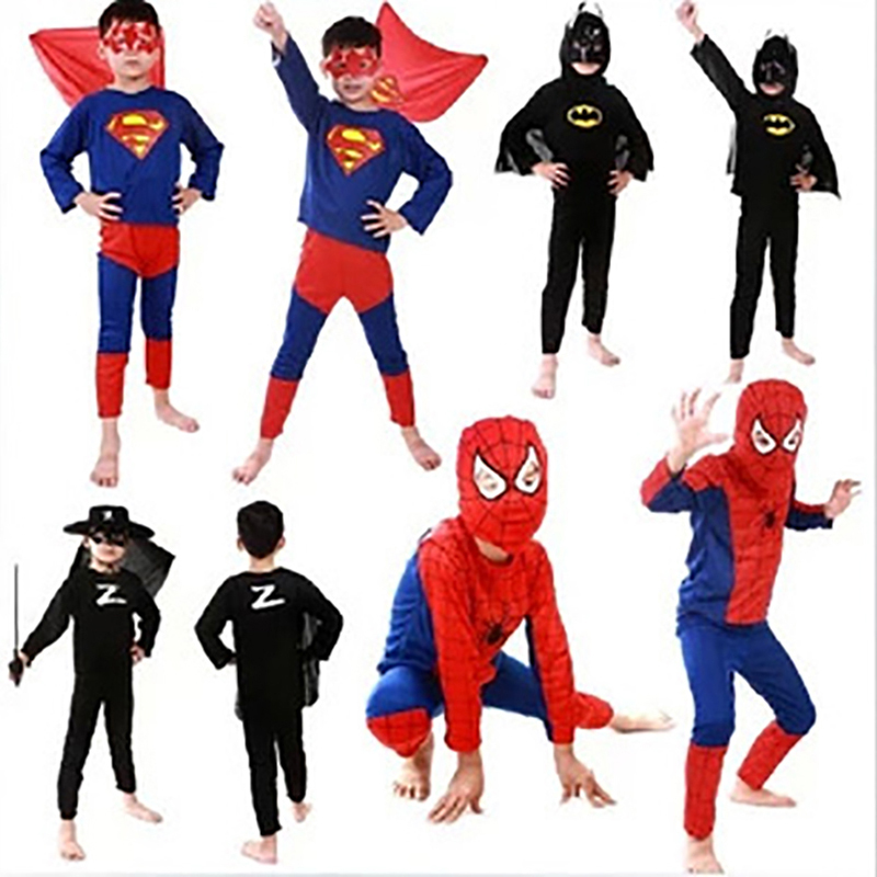 Free Shipping New Halloween Costume Spiderman Superman Batman Zorro Tights Suit Fancy Dress Boys Kids Childrens Comic Clothes(China (Mainland))