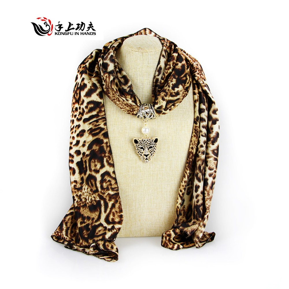 Leopard print Polyester animal Pendant Scarf Necklace Woman Fashion Golden Panther tippet scarves beach cover up free shipping(China (Mainland))