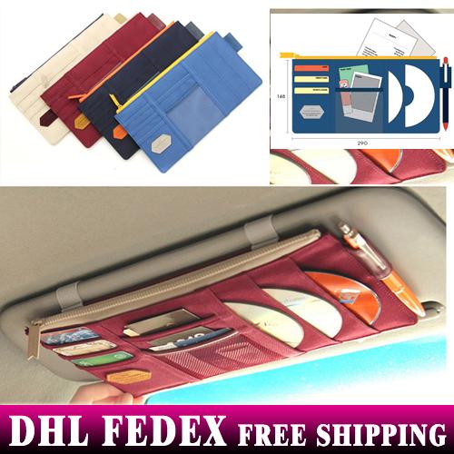Free Shipping+Wholesale Multifunctional Sun Visor Storage Bag Car Bag Notes Pouch CD Receive Bag,50pcs/lot(China (Mainland))