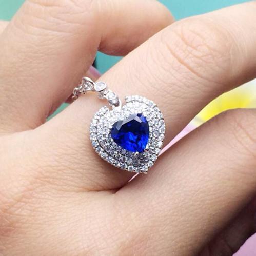 Titanic Necklace Silver Heart of Sea Pendant Sapphire Jewelry 2CT Simulate Gemstone Sapphire Love Pendant 18K White Gold Plated(China (Mainland))