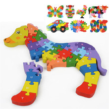 3D Puzzles Wooden Early educational toys alphabet digit Wooden Baby Hand Grasp Gift For Children Cartoon Animals Jigsaw Puzzle