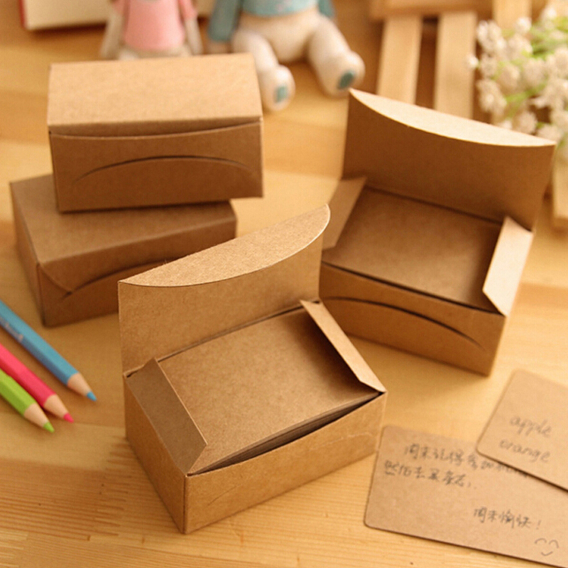 200 Sheets/2 Boxes/2 Sets Vintage Kraft Paper Cards Notes Notepad Filofax Memo Pads Office Supplies School Office Stationery(China (Mainland))